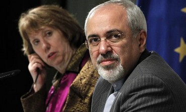 Iranian FM Mohammad Zarif and EU's Catherine Ashton