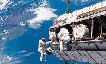 A space walk at the International Space Station