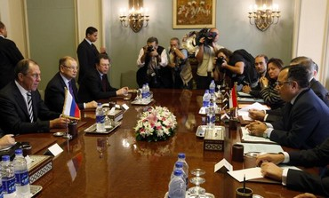 Russian Foreign and Defense ministers meet with Egyptian counterparts in Cairo, November 14, 2013.