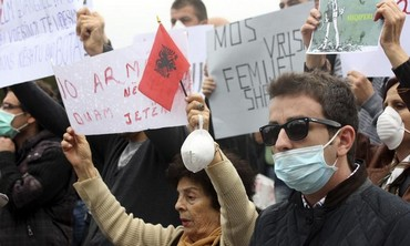 Albanians protest against request to host destruction of Syria's chemical weapons in their coutnry.