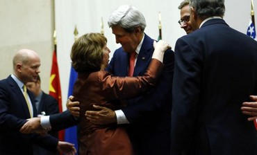 US Sec. of State Kerry hugs EU foreign policy chief Ashton
