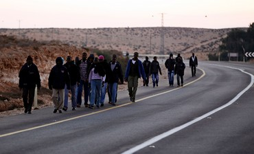 African migrants march to Jerusalem from Negev detention center, Dec. 16, 2013
