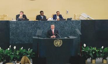 Jordan's King Abdullah addresses UN Gen. Assembly in New York.