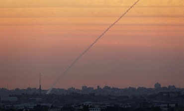 A rocket launched from the Gaza Strip.