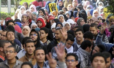 Cairo University students supporting the Muslim Brotherhood.