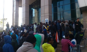African migrants gather outside Interior Ministry in Tel Aviv.