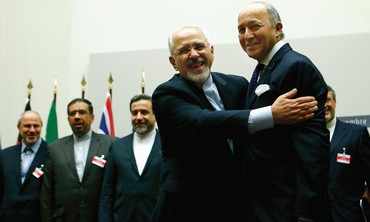 Iranian FM Zarif embraces French FM Laurent