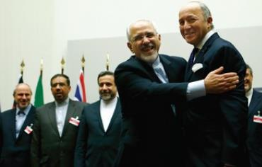 Iranian FM Zarif embraces French FM Laurent