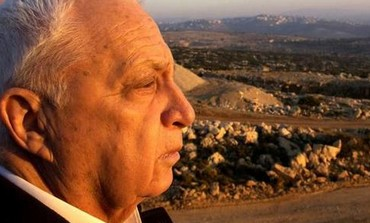 Former Israel prime minister Ariel Sharon gazes at the West Bank