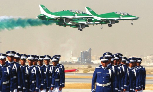 Saudi Air Force jets fly in formation during a graduation ceremony for Air Force officers in Riyadh