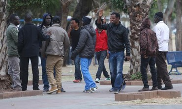 African migrants at Lewinsky Park in Tel Aviv, January 9, 2014.