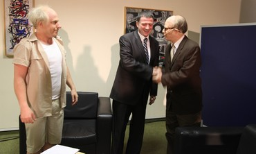 "Knesset speaker Yuli Edelstein with ""Menachem Begin"" and ""David Ben-Gurion"""