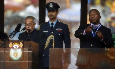 Sign language interpreter at Nelson Mandela's funeral.
