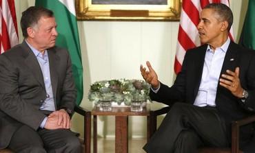 US President Barack Obama (R) and Jordan's King Abdullah meet in California.
