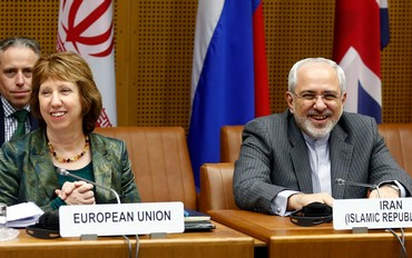 The EUs Ashton and Irans Zarif in Vienna, February 18, 2014.