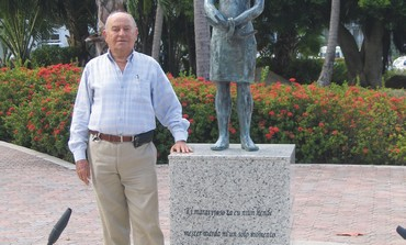 DAVID CYBUL, the Aruba Jewish community leader, in front of the Anne Frank memorial.