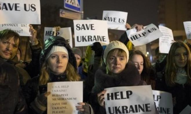 Ukrainians in Kiev rally for Western support.