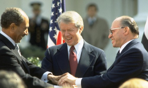 Sadat, Carter, Begin, in 1979 after signing of peace treaty.