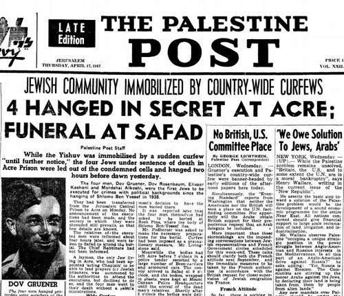 Four hanged in secret in Acre