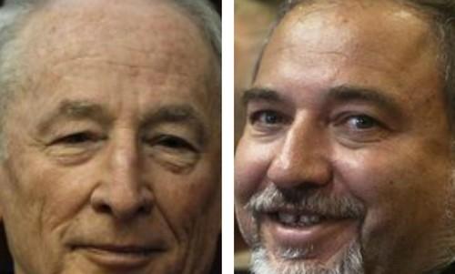 Attorney-General Yehuda Weinstein (L) and FM Avigdor Liberman370