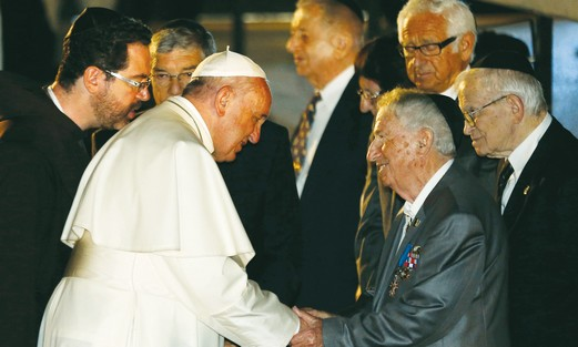 POPE FRANCIS greets Holocaust survivor Eliezer Grynfeld at Yad Vashem on Monday.