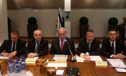 Prime Minister Netanyahu at cabinet meeting, June 15, 2014