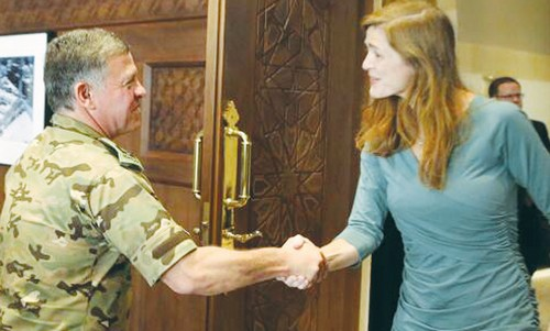 KING ABDULLAH II meets  Samantha Power