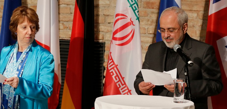 EU foreign policy chief Ashton and Iranian Foreign Minister Mohammad Zarif attend a news conference