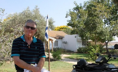 Yigal Cohen on Kibbutz Nir Am, July 21, 2014.