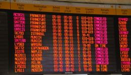 Ben Gurion departures board, July 23, 2014