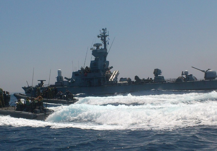 The navy patrols off the coast of Gaza on Monday