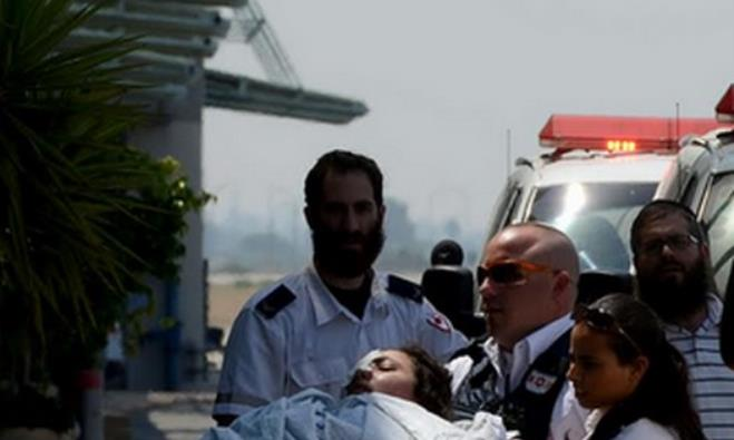 MDA crews evacuate wounded Palestinian from Gaza to Ben-Gurion Airoport for medical evacuation to Tu