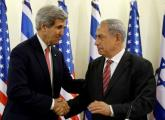 Prime Minister Benjamin Netanyahu (R) shakes hands with US Secretary of State John Kerry