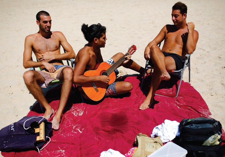 Israelis on the beach.