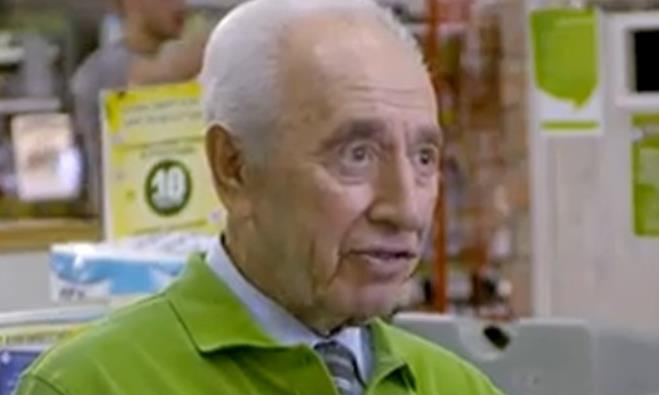 Shimon Peres as supermarket cashier