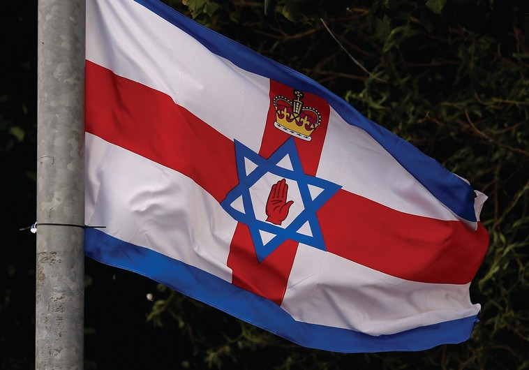 A FLAG comprising of various elements including the Ulster Banner and the Star of David