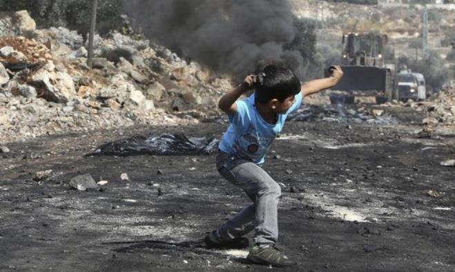 Palestinian throws stones at IDF
