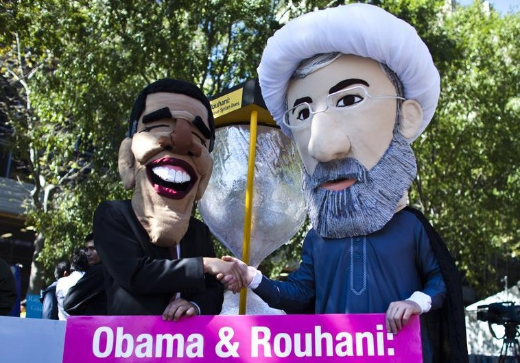 Protesters mock Hassan Rouhani and Barack Obama