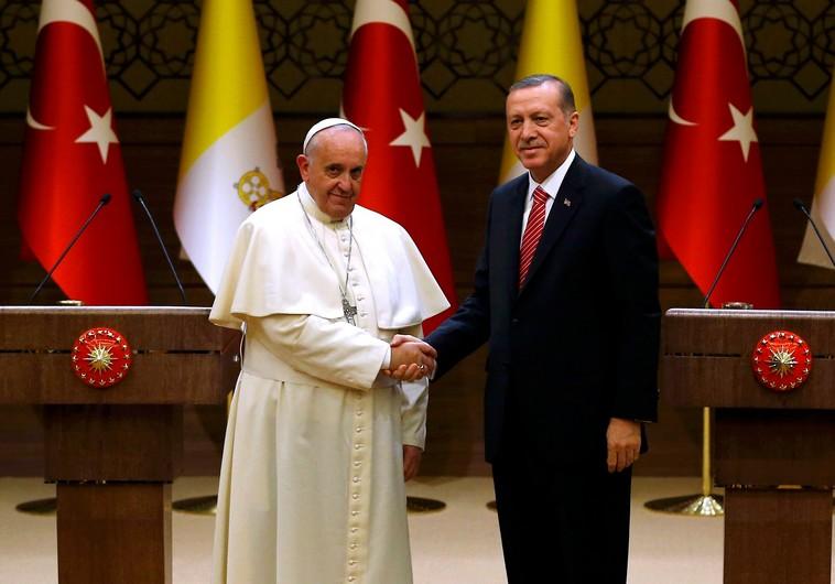 Pope Francis and Turkey's President Tayyip Erdogan