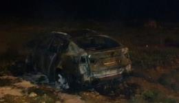 Burnt car in which two bodies were discovered near Ramle