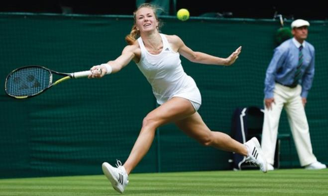 Israeli tennis star Julia Glushko in action