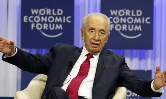 Former president Shimon Peres at the World Economic Forum in Davos