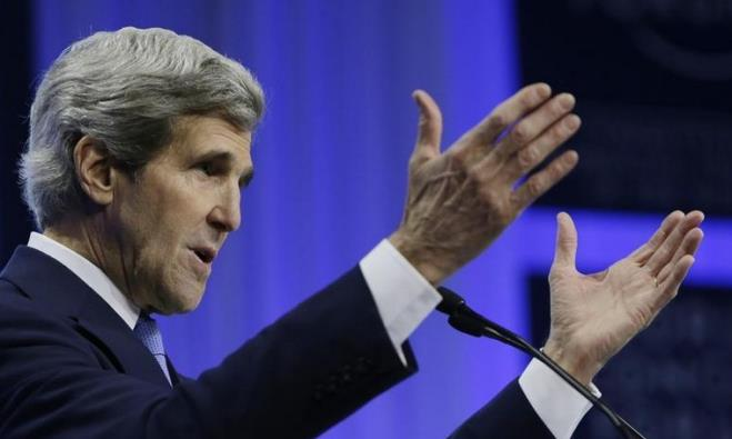 US Secretary of State John Kerry delivers remarks at the World Economic Forum in Davos