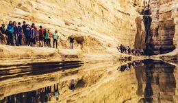 A GROUP of North Americans pass Ein Avdat in the Negev Desert