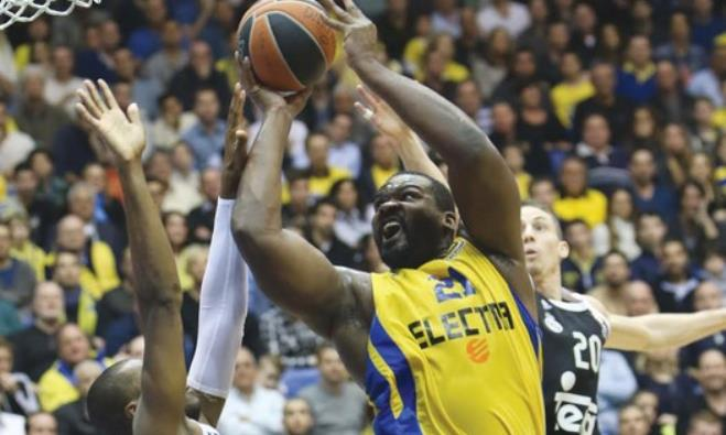 Sofoklis Schortsantis of Maccabi Tel Aviv goes up for a shot