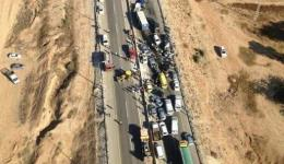 Aerial picture of chain accident at Lehavim Junction in Negev