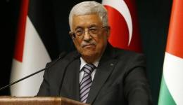Palestinian Authority President Mahmoud Abbas speaks to the media in Turkey