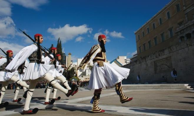 GREEK PRESIDENTIAL guards march.