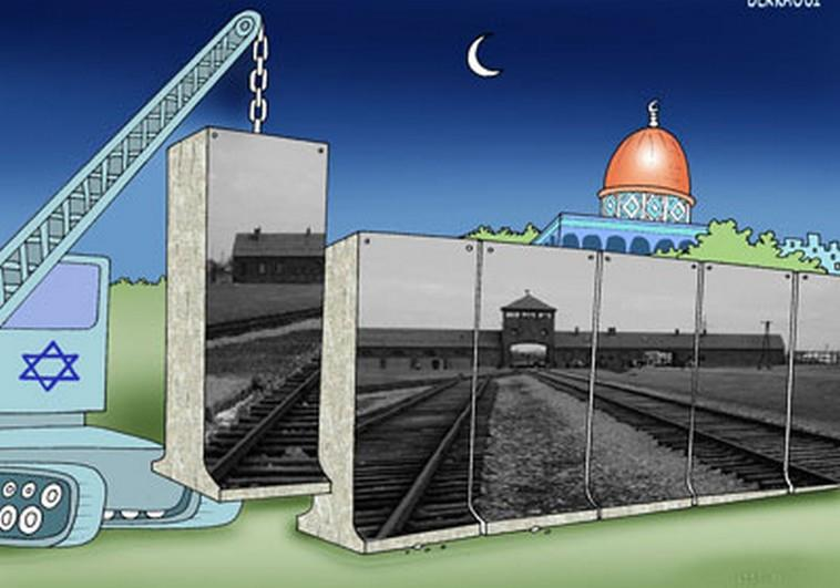 A cartoon displayed at a Holocaust-themed contest in Iran, published on The Jerusalem Post