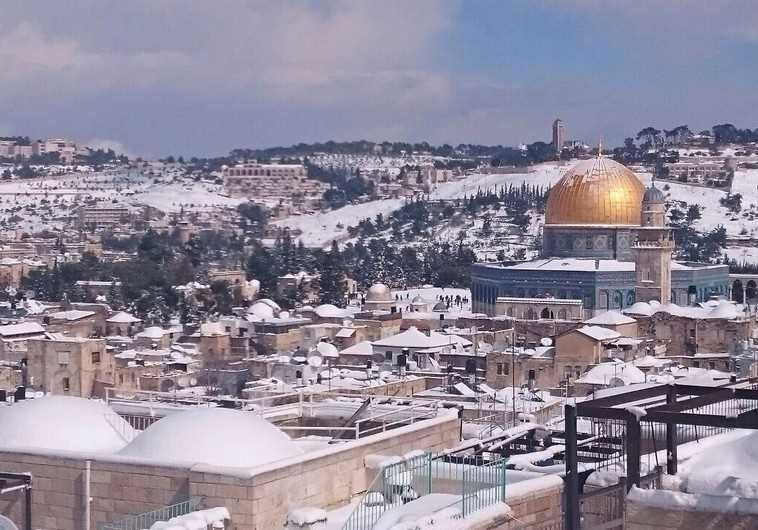 Aerial view of Jerusalem in snow